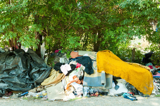 Street shelter of homeless refugees people in the city park