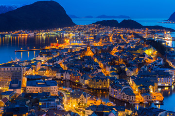 Beautiful Alesund town at night in Norway