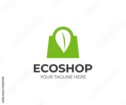purchase logo template  Eco shopping logo template. Shopping bag and leaf vector design ...