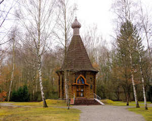 Dachau, Upper Bavaria / Germany - March 2018: The Russian-orthodox Memorial Chapel nestled among the trees at the Dachau Concentration Camp.