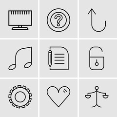 Set Of 9 simple editable icons such as Weighing scale, Heart, Gear, Locked padlock, Piece of paper and pencil, Musical note, Cancel button, Question mark, Television