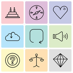 Set Of 9 simple editable icons such as Diamond, Weighing scale, Question mark, Mute speakers, Update arrow, Download from the cloud, Heart, Compass, Cake with candles