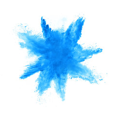 Abstract blue powder explosion on white background