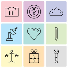 Set Of 9 simple editable icons such as Wrench, Bookmark, Weighing scale, Edit tool, Heart, Satellite dish, Cloud, Question mark, Shopping basket