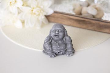 Small Buddha, badth, spa on white background