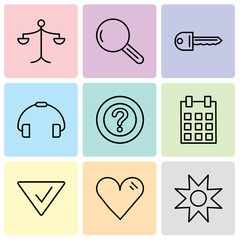 Set Of 9 simple editable icons such as Star, Heart, Check mark, Calendar with day 5, Question mark, Telephone handle, Key, Magnifying glass, Weighing scale