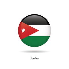 Jordan flag - round glossy button. Vector Illustration.