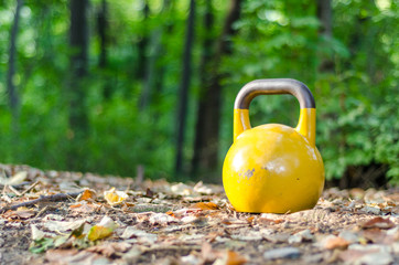 Kettlebell standing on the ground in the nature, outdoor training and fitness workout concept