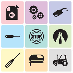 Set Of 9 simple editable icons such as autotruck, jigsaw, screwdriver, flat plyer, stop, turn-screw, pump, settings, oil container