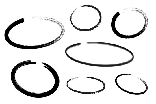 Circle draw set, design elements of highlighting, black marker isolated on white background, vector illustration.