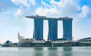 Singapore Marina Bay Sands resort at morning view from Marina Bay