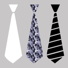 Three vector image of necktie. Neck ties vector templates