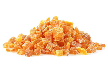 Apricot candied fruits on white background