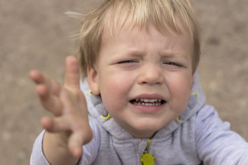Sad crying toddler pulls his hands up. Close up portrait of baby boy asking for pick up