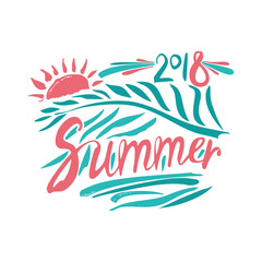 Summer. 2018. Hand drawn inscription and palm leaf and sun. Vector design logo template.