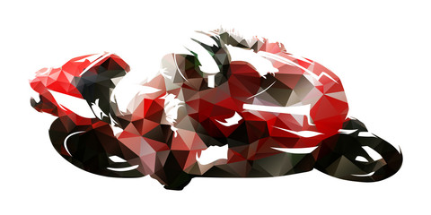 Road motorcycle racing, polygonal vector illustration
