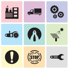 Set Of 9 simple editable icons such as pipe wrench, stop, exclamation, solar battery, flat plyer, electric saw, settings, truck, factory