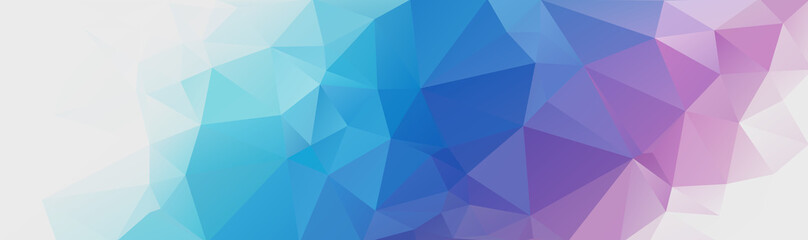Abstract multicolored polygon, low polygon background. Transfusion of color. Multicolor. Watercolor effect. Geometric Pattern Banner, long, strip, advertisement, header. Dark