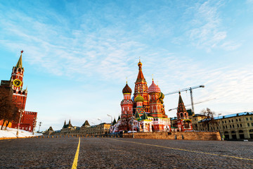Saint Basil Cathedral on Red Square taken from empty Vasilyevskiy Spusk in Moscow, Russia