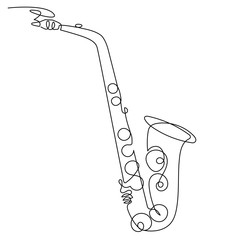 Continuous line drawing of saxophone isolated vector art. Musical instrument for decoration, design, invitation jazz festival, music shop.