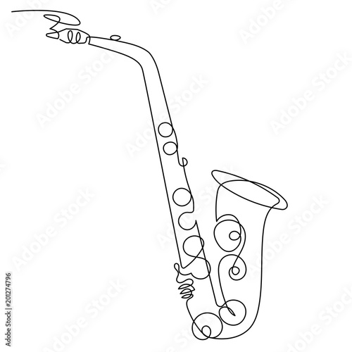 Continuous line drawing of saxophone isolated vector art musical continuous line drawing of saxophone isolated vector art musical instrument for decoration design stopboris Image collections