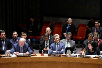 Russian Ambassador to the U.N. Nebenzia speaks during a U.N. Security Council meeting on a chemical weapons watchdog report in New York