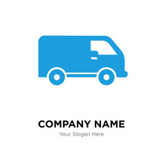 Black delivery small truck side view company logo design template