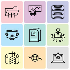 Set Of 9 simple editable icons such as Laptop Analysis, Global Heart Beat, Folder Connected Circuit, User data analytics, Data page, Data settings, data analytics