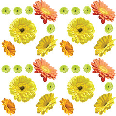 Gerbera flowers-seamless pattern on white background, yellow, orange and green