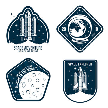 Space badges with astronaut helmet, rocket launch and moon. Set of vintage astronaut label or patch for embroidery in space concept. T-shirt graphic, emblem and logo design