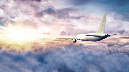 Airplane flying above clouds at sunset 3D Rendering