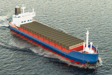 Freighter ship with wooden logs in ocean, 3D rendering