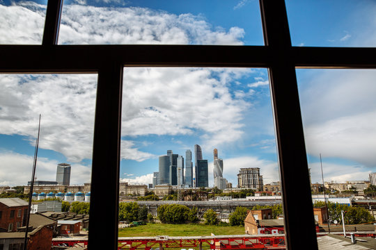 View of Moscow city through the window