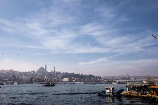The view of Istanbul and the Bosphorus river