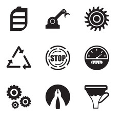 Set Of 9 simple editable icons such as funnel, flat plyer, settings, speedometer, stop, triangle, saw blade, jenny, battery