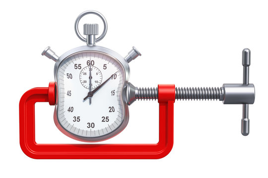 Stopwatch squeezed in a clamp concept, 3D rendering