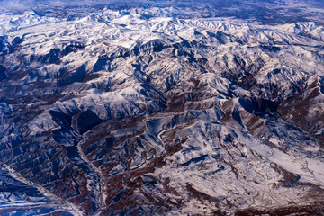 Aerial mountain view from aircraft