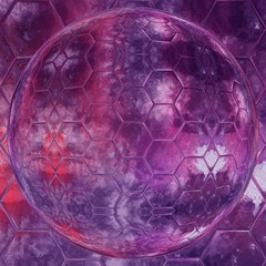Abstract hex globe watercolor texture background. Purple grunge creative artwork.