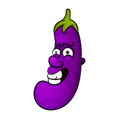 Cartoon character of an eggplant