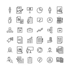 Modern outline style business icons collection.