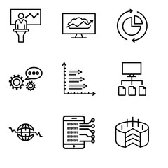 Set Of 9 simple editable icons such as Folder Connected Circuit, Data analytics upgoing bars chart, Global Heart Beat, Data flow, Analytics, 3d data analytics, Data analysis pie chart