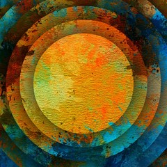 Abstract concentric circles watercolor texture background. Orange and blue grunge creative artwork.