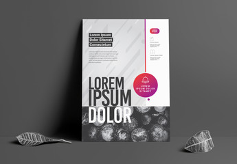 Flyer Layout with Grayscale Texture and Pink Accents