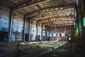 Foto auf Acrylglas Alte verlassene Gebäude Abandoned ruined industrial factory building, corridor view with perspective, ruins and demolition concept