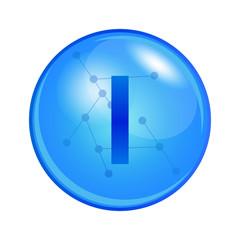 Mineral Iodine capsule. Vector icon for health. Blue shining vitamin pill.