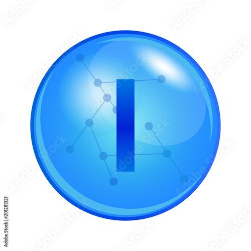 Mineral Iodine Capsule Vector Icon For Health Blue Shining Vitamin
