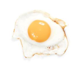 single fired egg isolated on white background