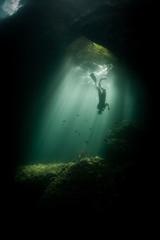 Fototapete - Diver in Sunlit Underwater Cavern in Raja Ampat