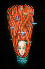 girl with fish in hair