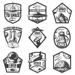 Vintage Monochrome Space Labels Set